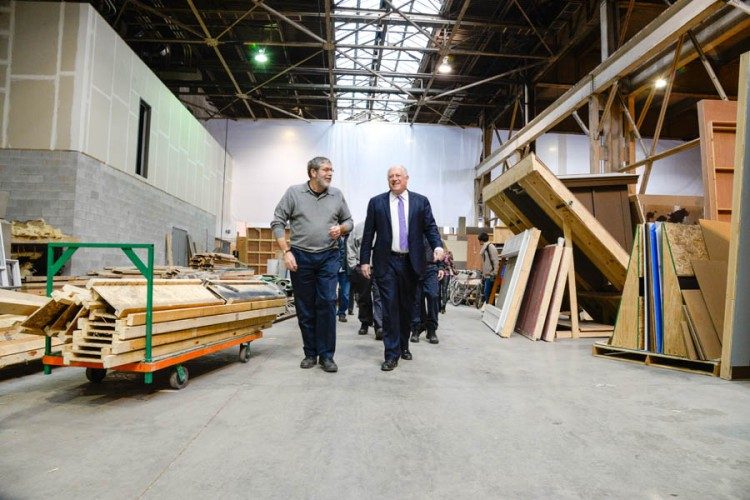 Governor Pat Quinn and I walk the sets of Chicago Fire