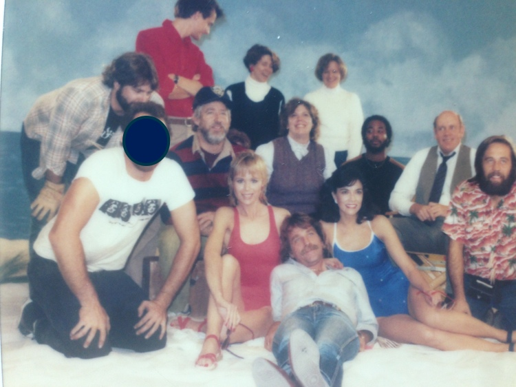 That's Bo in the baseball cap. His wife and frequent collaborator Dorna is in the bg. in the black shirt with the white turtleneck. . The crew and bathing suit babes are from one of the first commercials we shot in our little stage on Superior Street in Chicago.