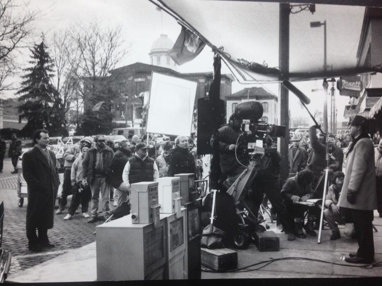 'Groundhog Day' -- A shot from one of Phil's many intros to Ned Ryerson outside the Tick Tock Diner. Yours truly is just right of Bill Murray. The guy in the down vest and white sleeves to the right of me is 1st AD, Mike Haley.